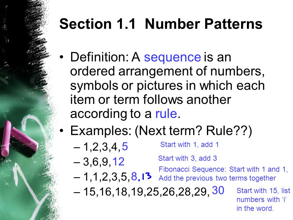 Section 6060 Number Patterns Definition A Sequence Is An Ordered New Patterns Definition