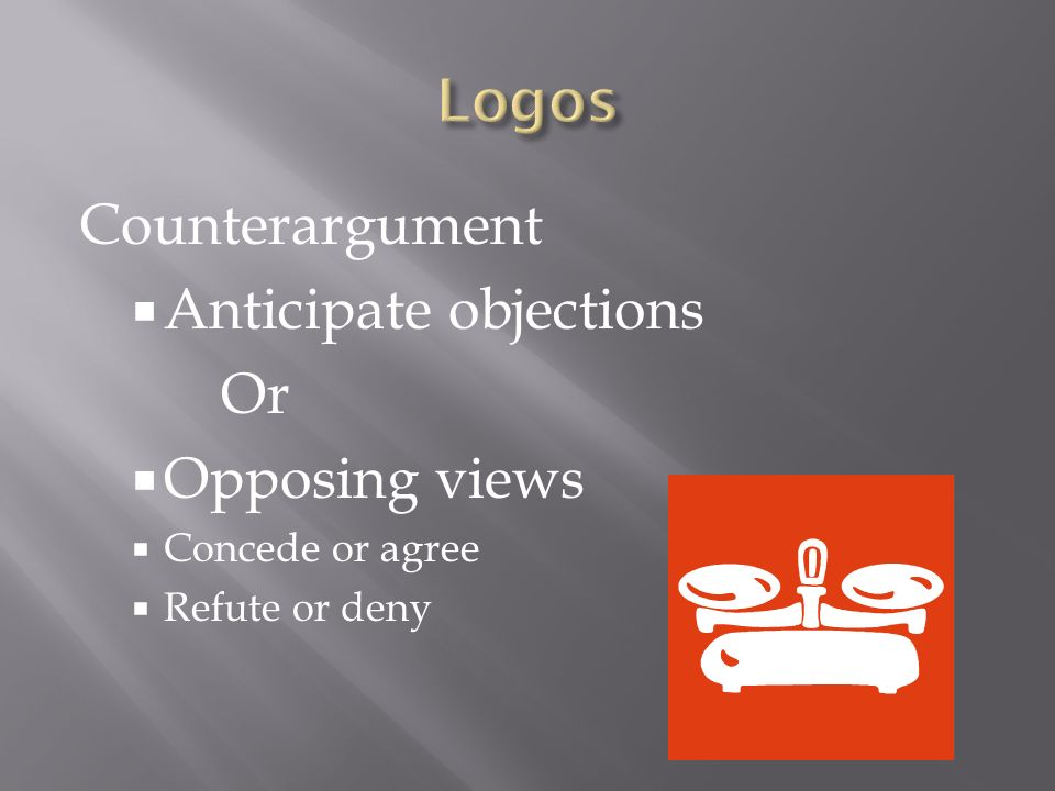 Counterargument  Anticipate objections Or  Opposing views  Concede or agree  Refute or deny