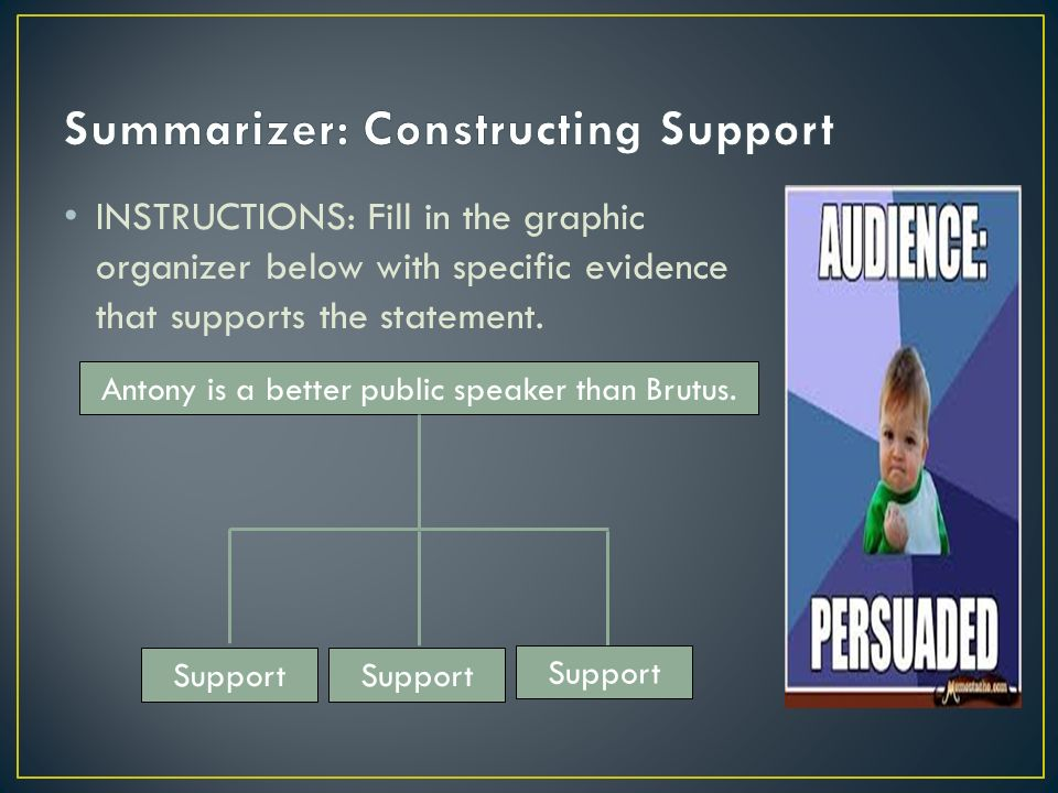 INSTRUCTIONS: Fill in the graphic organizer below with specific evidence that supports the statement.