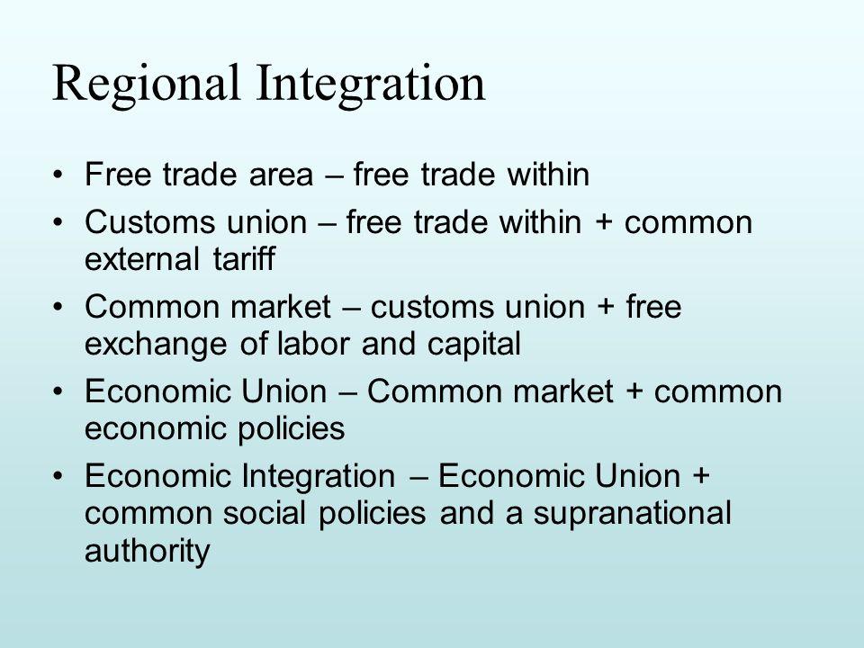 custom union and free trade area
