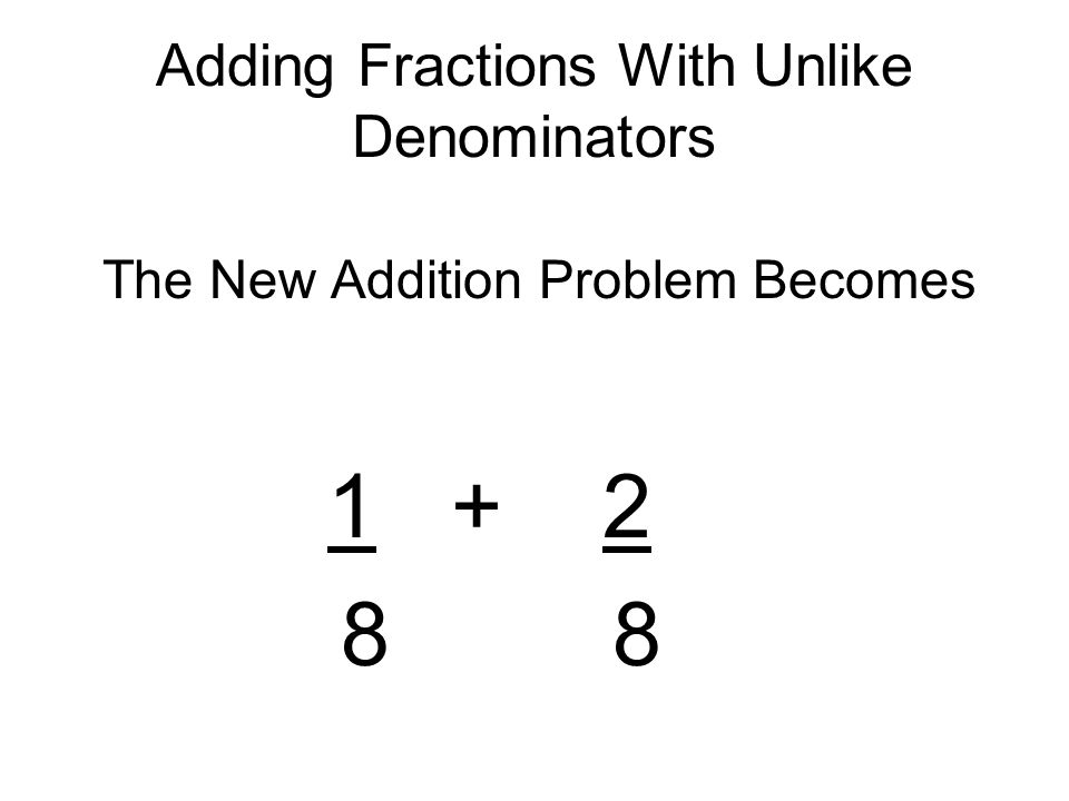 Adding Fractions With Unlike Denominators The New Addition Problem Becomes