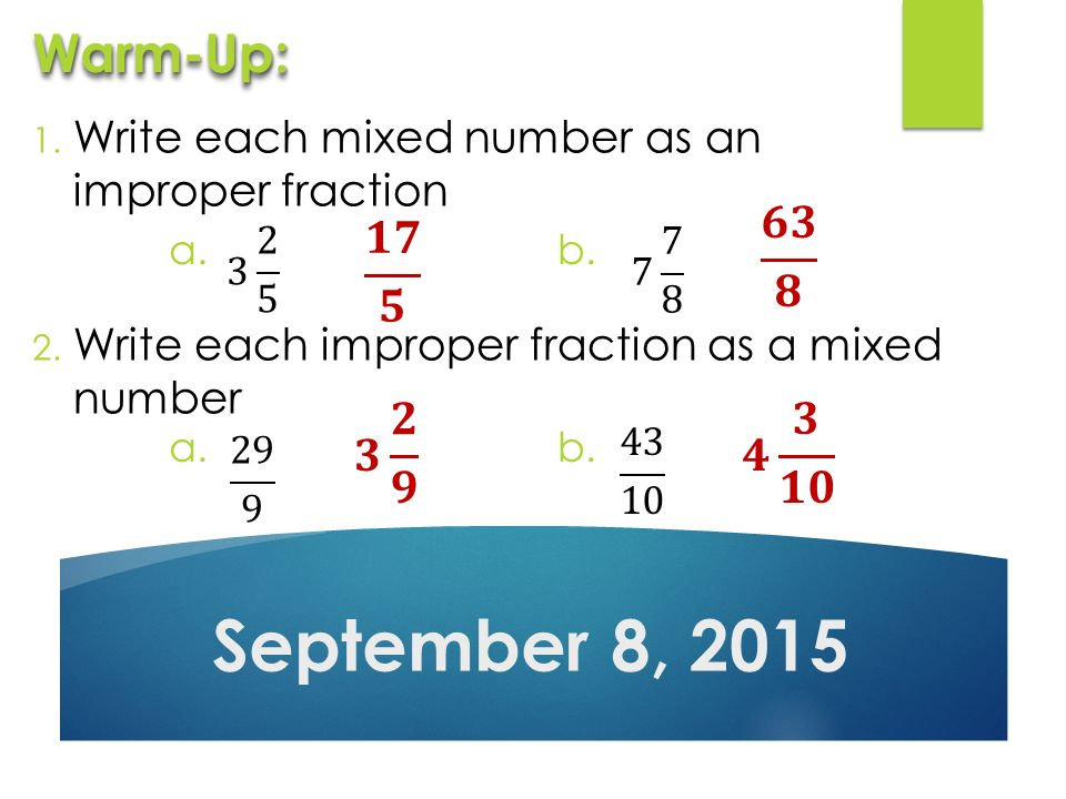 Write Each Mixed Number As An Improper Fraction 2