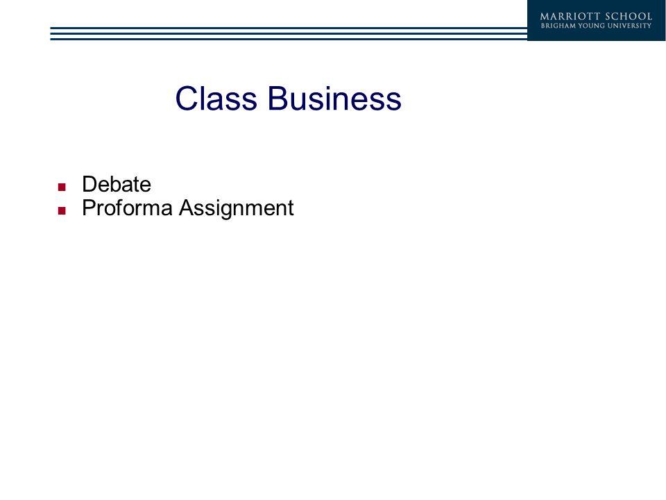 1 class business debate proforma assignment