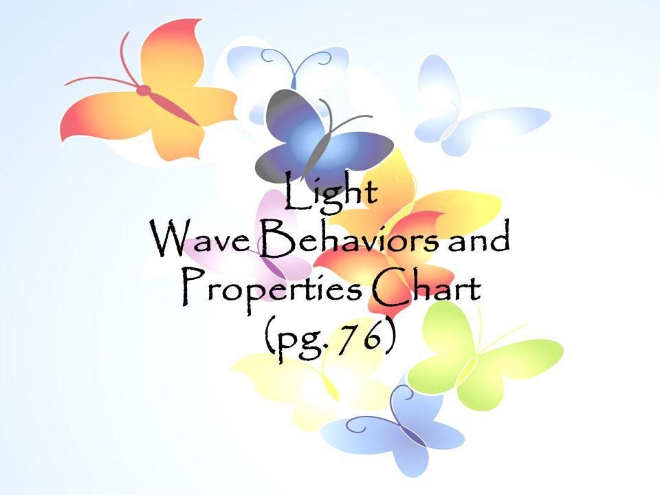 Light Wave Behaviors and Properties Chart (pg. 76)