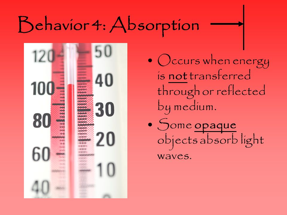 Behavior 4: Absorption Occurs when energy is not transferred through or reflected by medium.