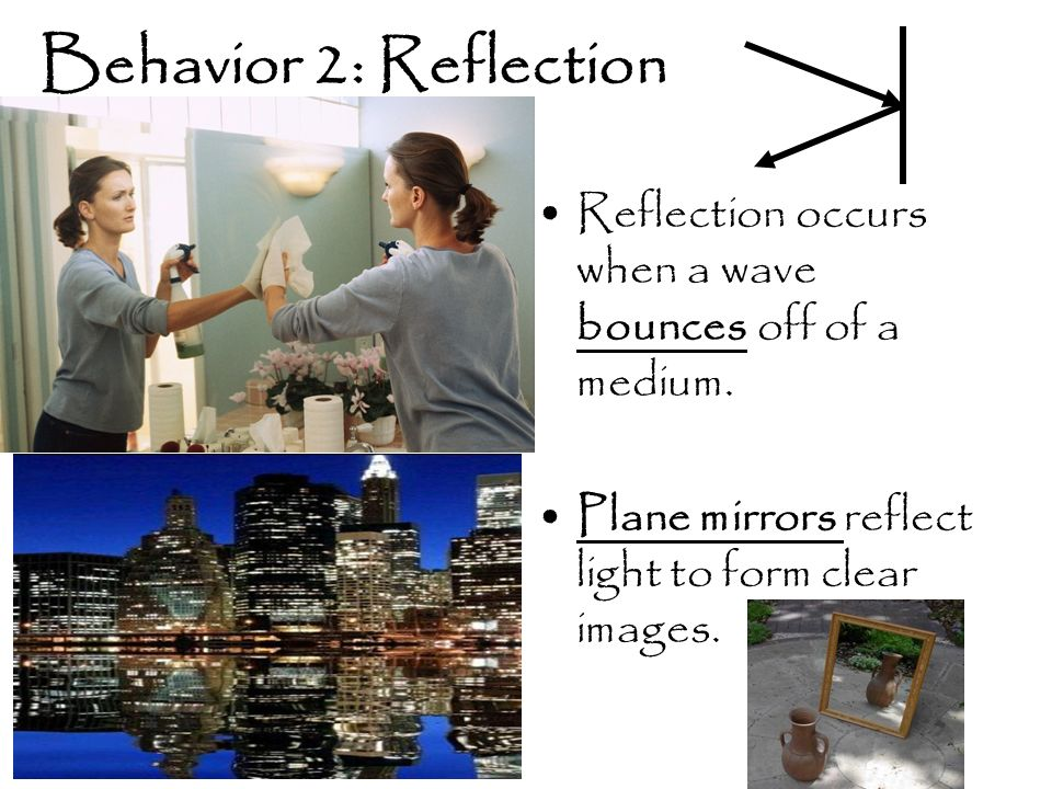 Behavior 2: Reflection Reflection occurs when a wave bounces off of a medium.