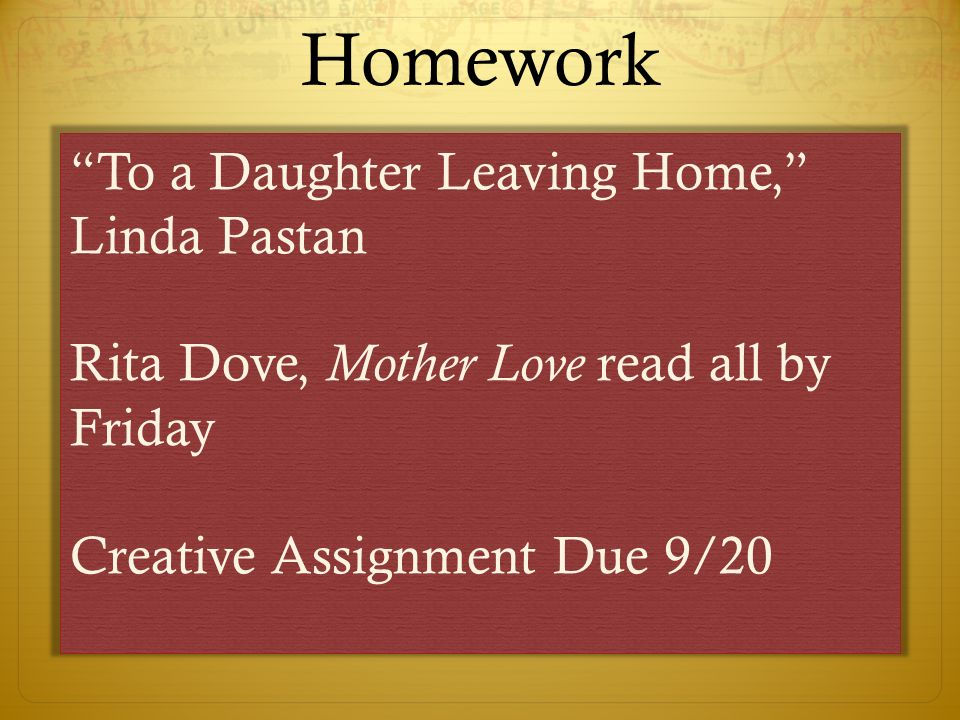 linda pastan to a daughter leaving home