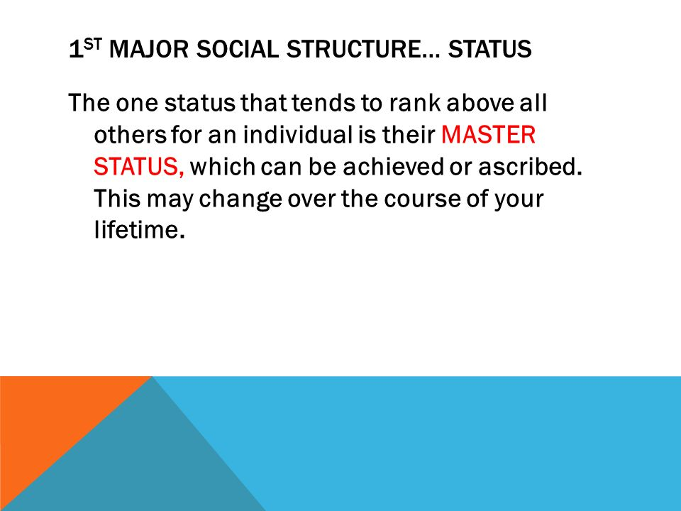what is a master status in sociology
