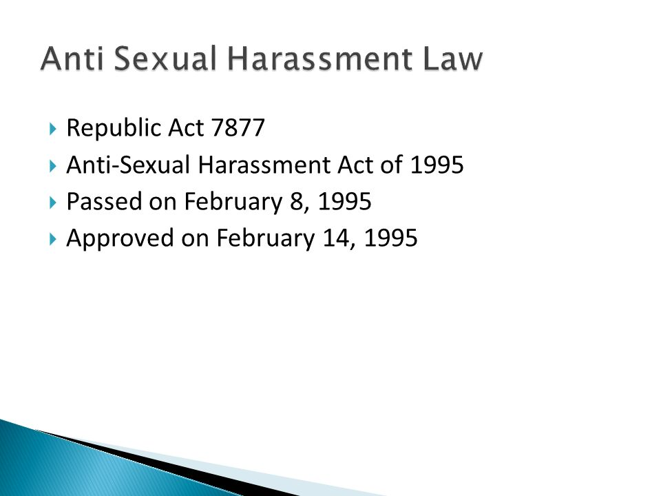 Anti sexual harassment republic act 7877