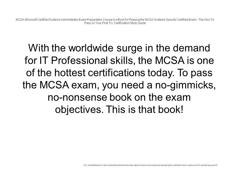 Mcsa Microsoft Certified Systems Administrator Exam Preparation