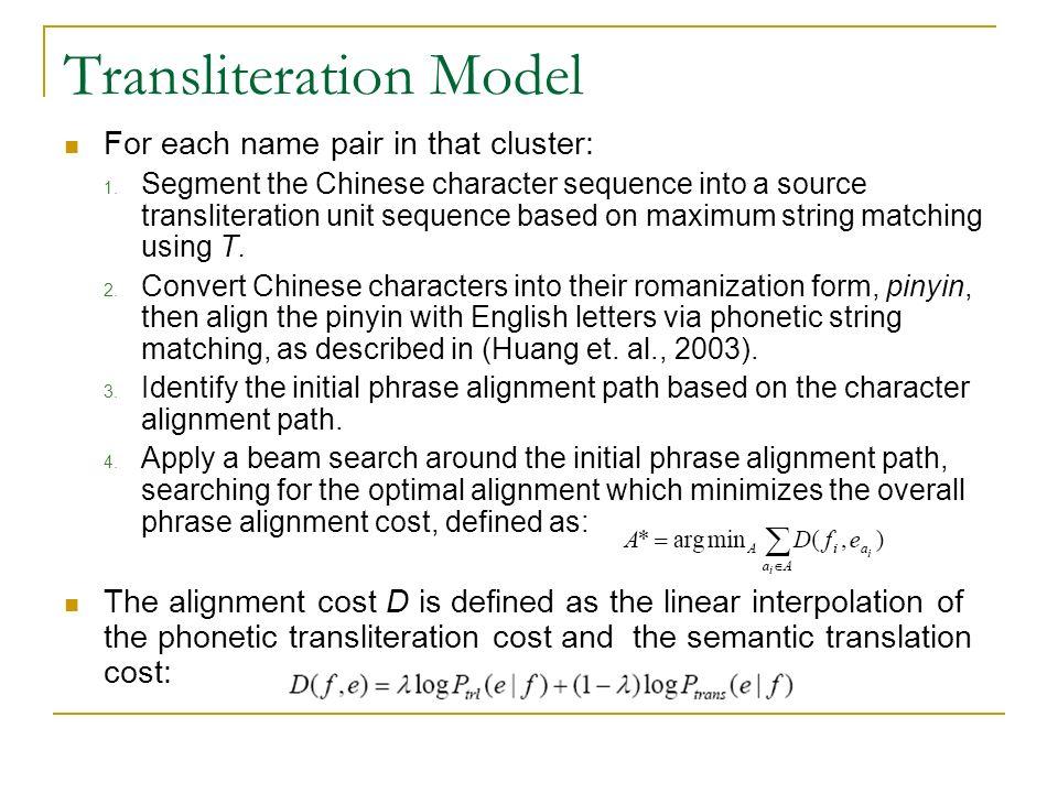 Cluster Specific Named Entity Transliteration Fei Huang Hltemnlp