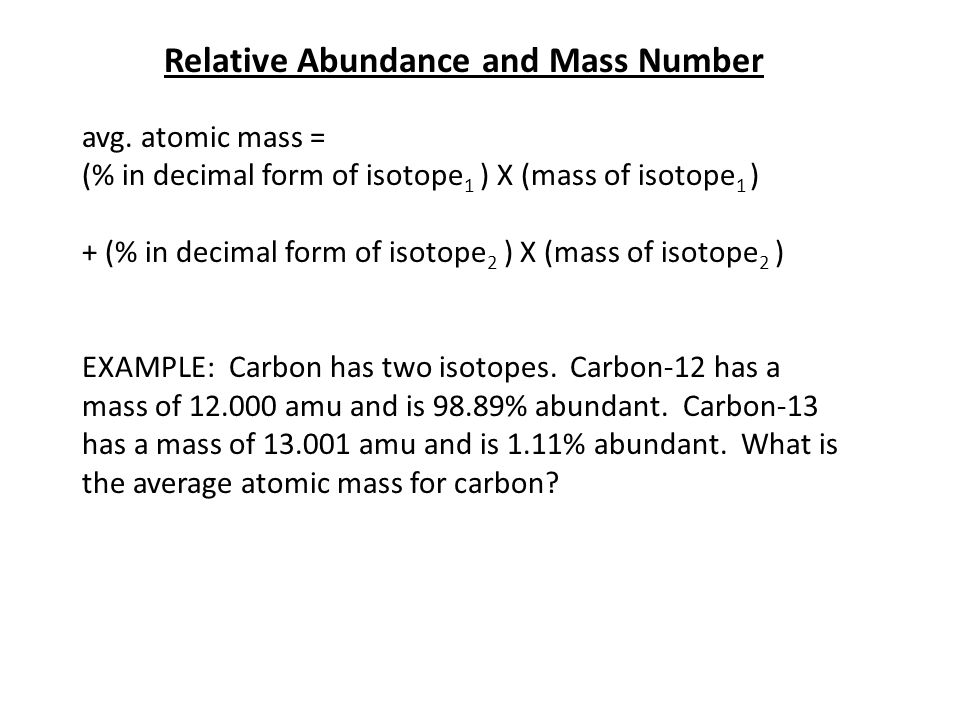 Relative Abundance and Mass Number avg.