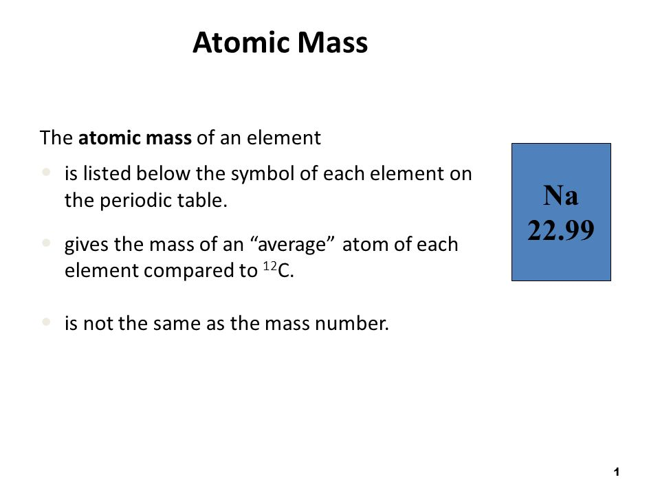 1 Atomic Mass The Atomic Mass Of An Element Is Listed Below The