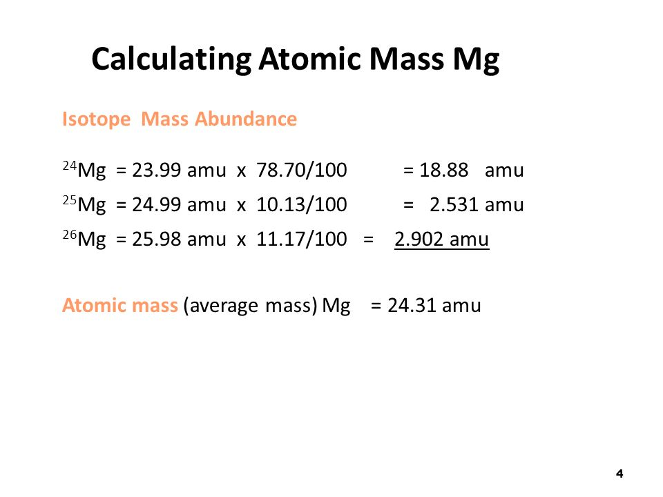 1 atomic mass the atomic mass of an element is listed below the 4 4 calculating urtaz Images