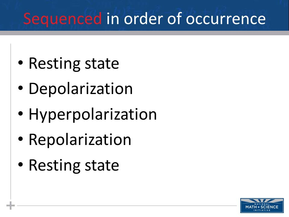 Sequence the following in order of occurrence Depolarization Resting state Repolarization Hyperpolarization
