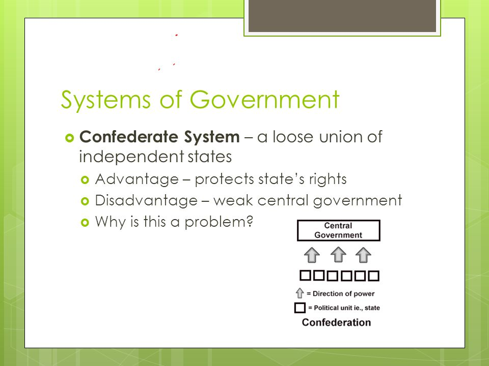 Systems of Government  Confederate System – a loose union of independent states  Advantage – protects state's rights  Disadvantage – weak central government  Why is this a problem