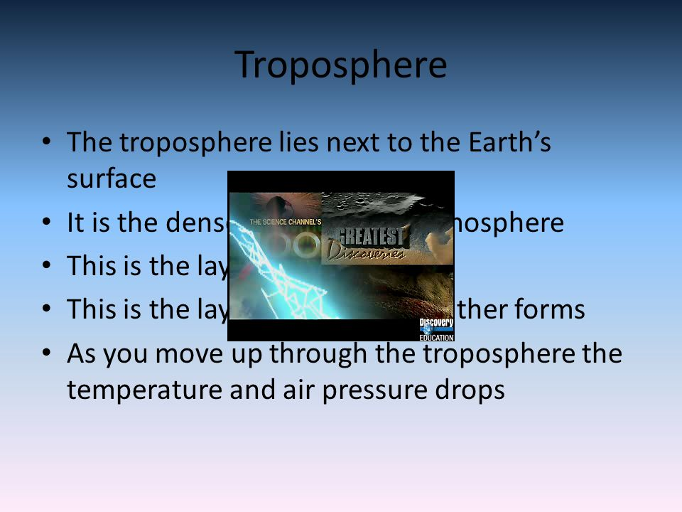 Troposphere The troposphere lies next to the Earth's surface It is the densest layer of the atmosphere This is the layer that we live in This is the layer that all the weather forms As you move up through the troposphere the temperature and air pressure drops