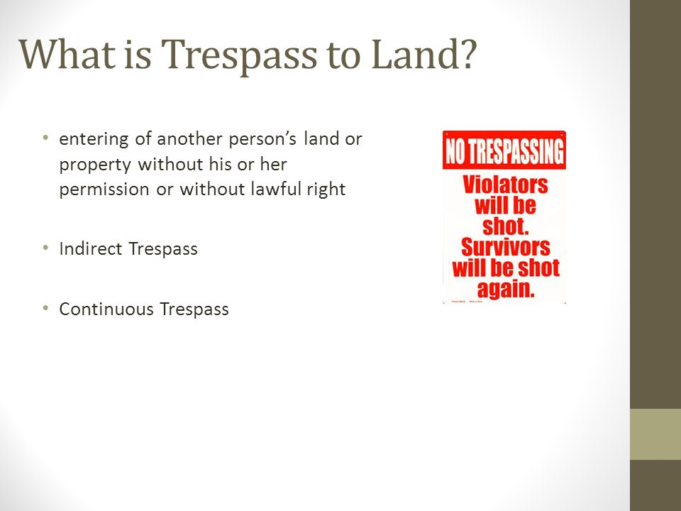 Tort of Trespass Trespass to Land Explanation with Case Law  - ppt