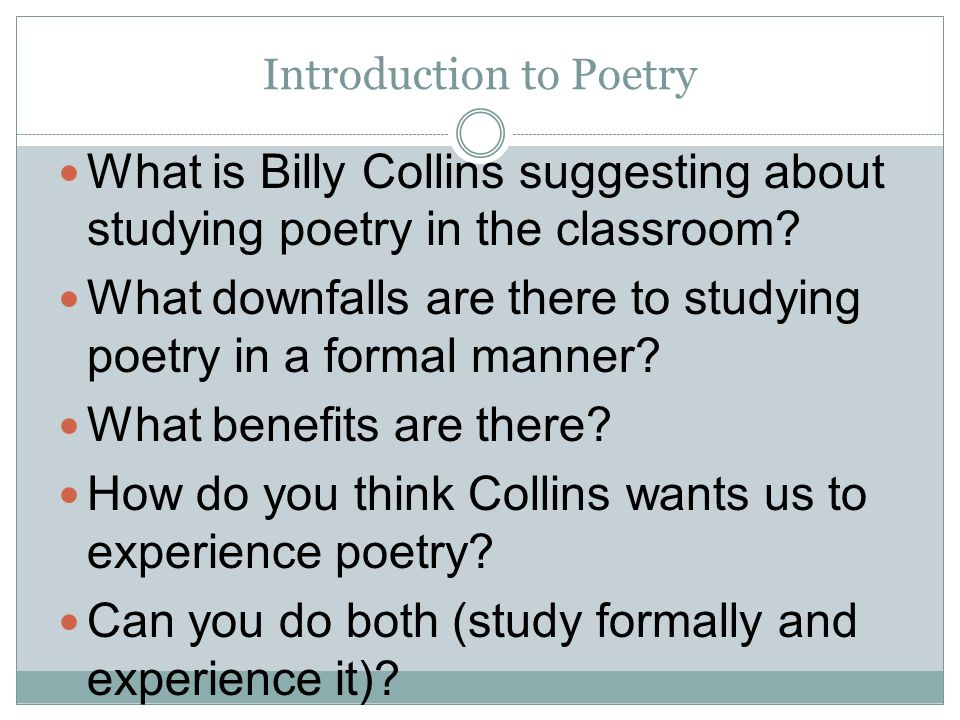 introduction to poetry billy collins analysis
