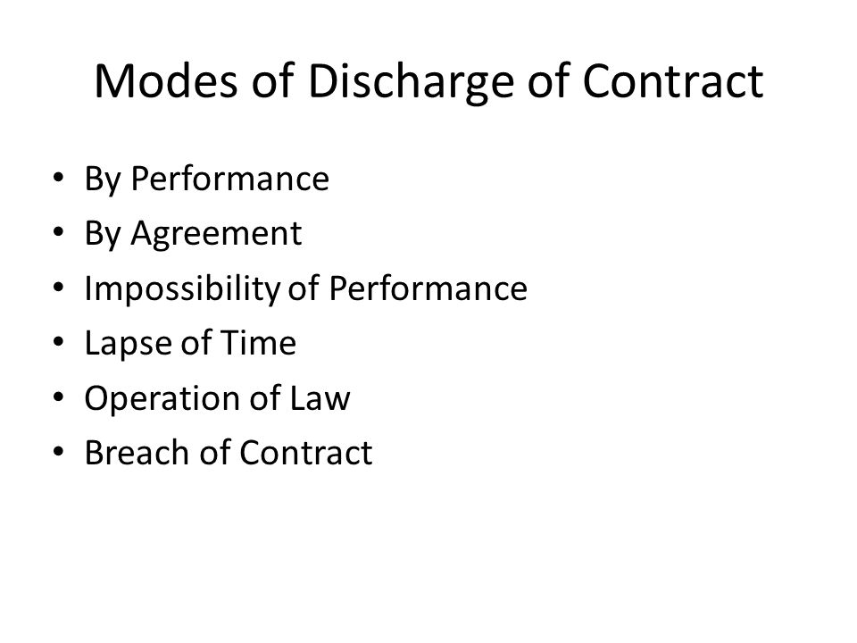 Discharge Of Contract Modes Of Discharge Of Contract By Performance