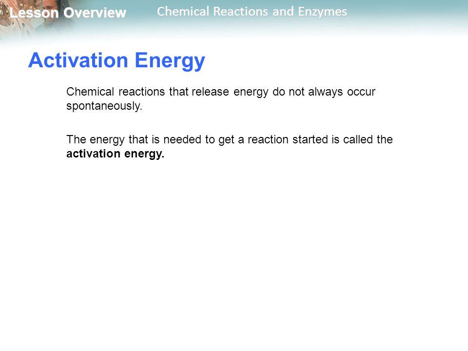 Lesson Overview Lesson Overview Chemical Reactions and Enzymes Activation Energy Chemical reactions that release energy do not always occur spontaneously.