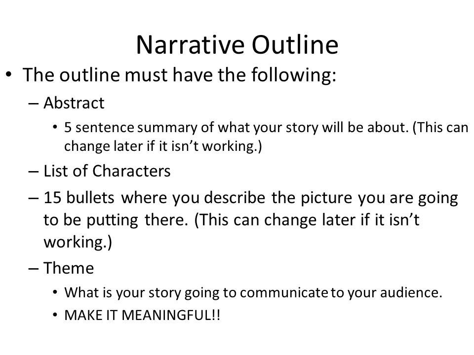 what is a narrative outline