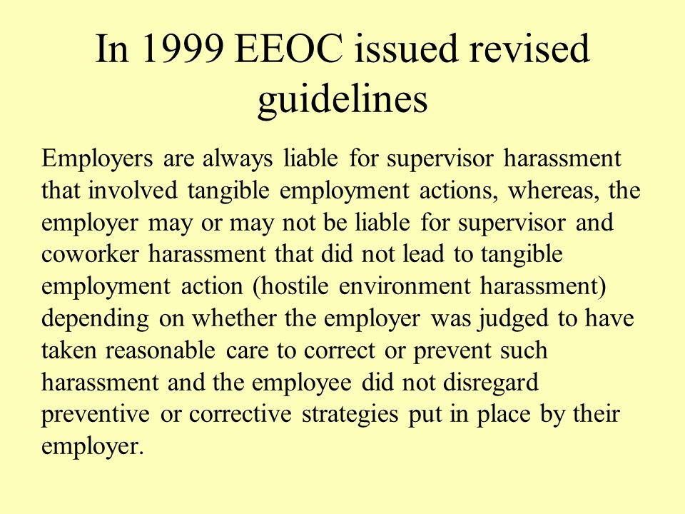 Eeoc tangible employment action sexual harassment