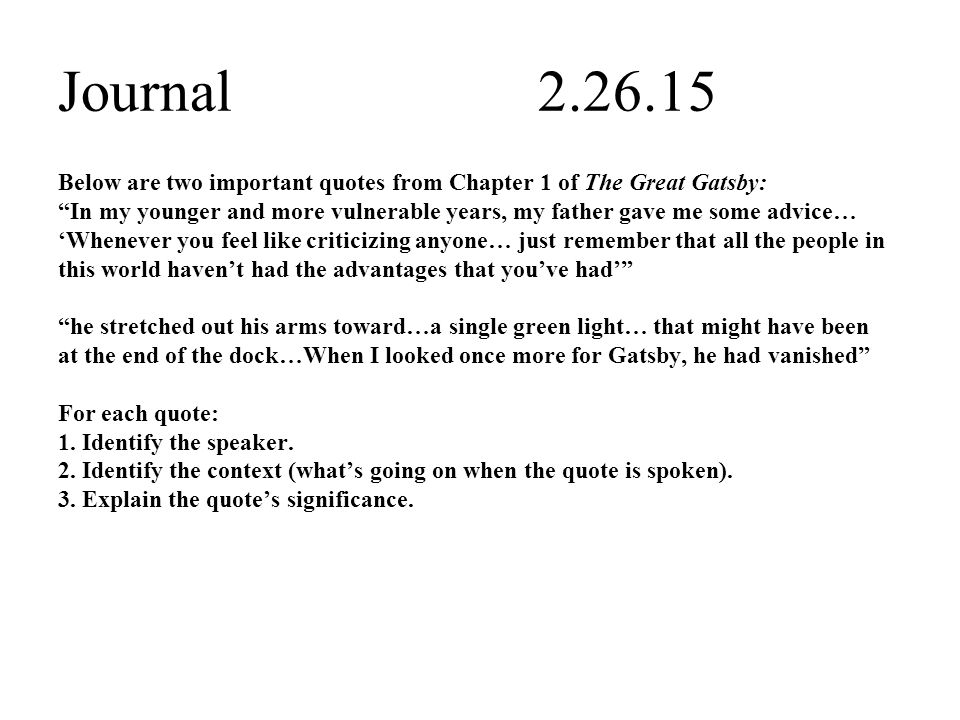 Important Quotes From The Great Gatsby Cool Journal Below Are Two Important Quotes From Chapter 48 Of The Great
