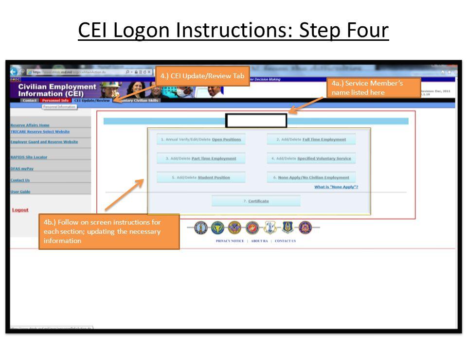Civilian Employee Informationcei Logon Instructions 1lt Valdez