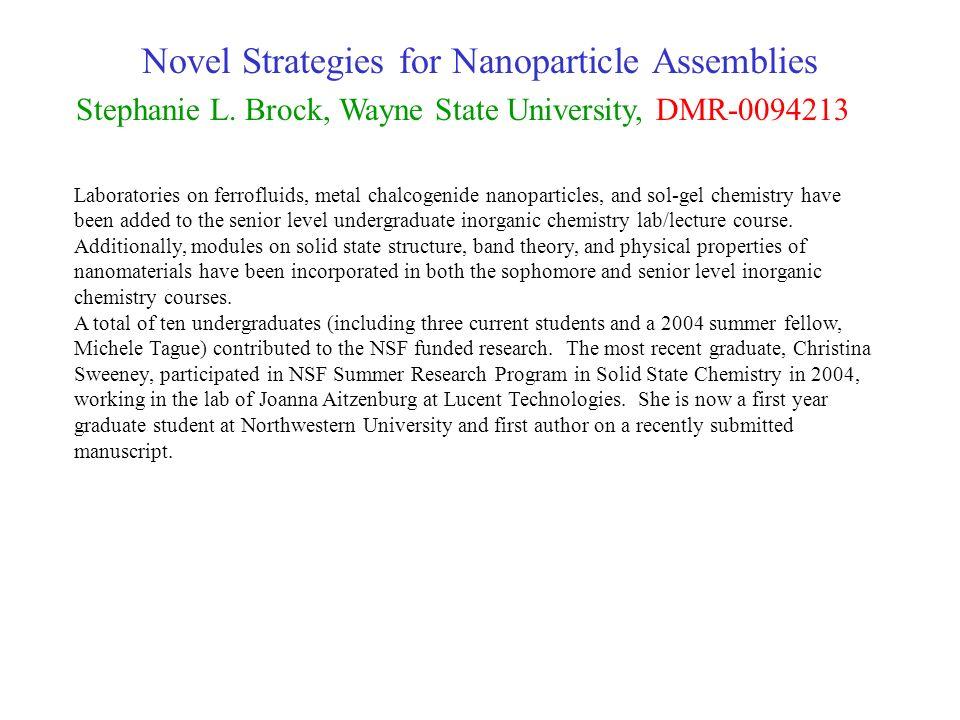 Novel Strategies for Nanoparticle Assemblies Stephanie L