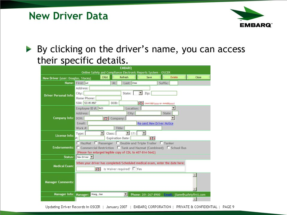 updating driver records within the oscer system updating driver rh slideplayer com Embarq Residential Embarqmail Sign In