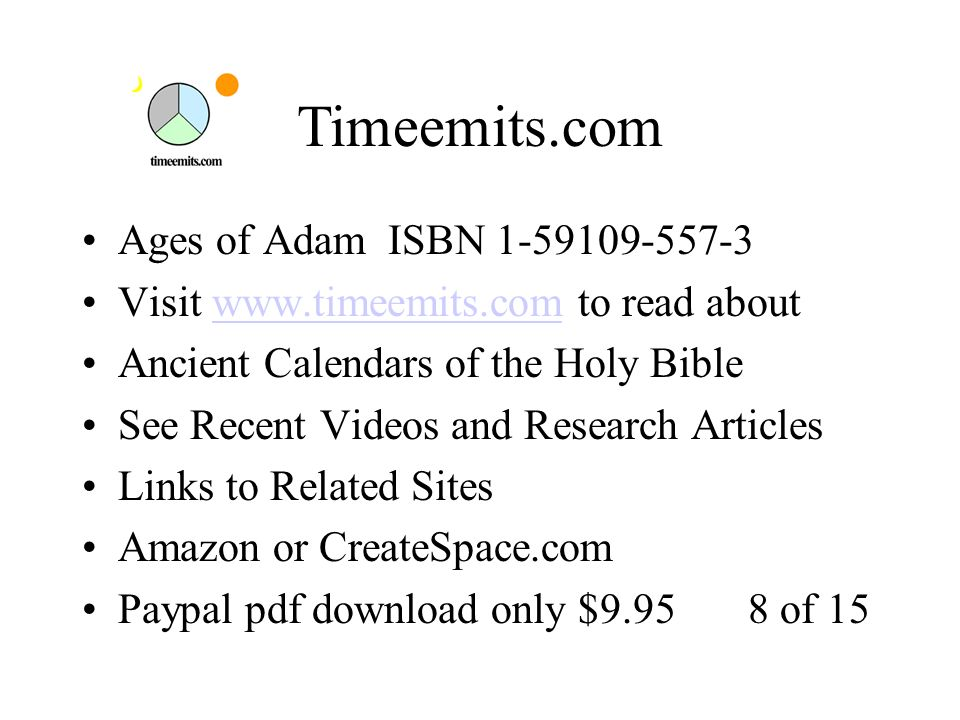 Ages of Adam Ancient Calendars of the Holy Bible ISBN Ages