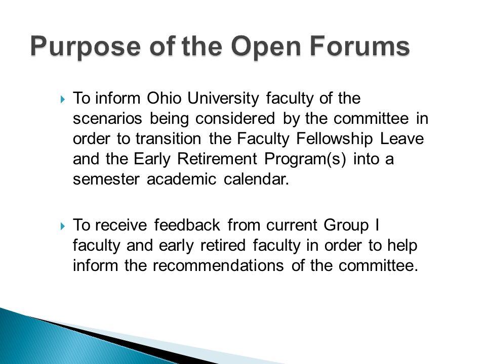 Ohio University Academic Calendar.Open Forum For Faculty Committee Roster Dean Greg Shepherd