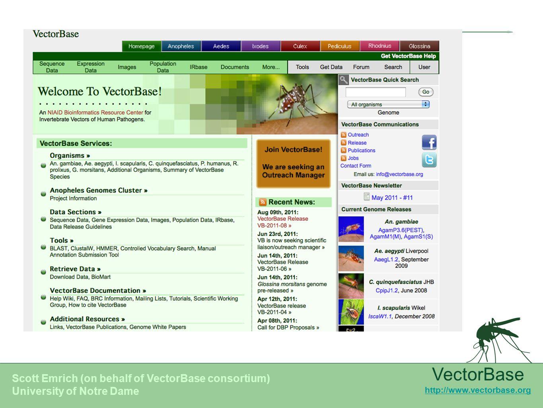 VectorBase BRC Overview Scott Emrich BRC 2011 – Annual