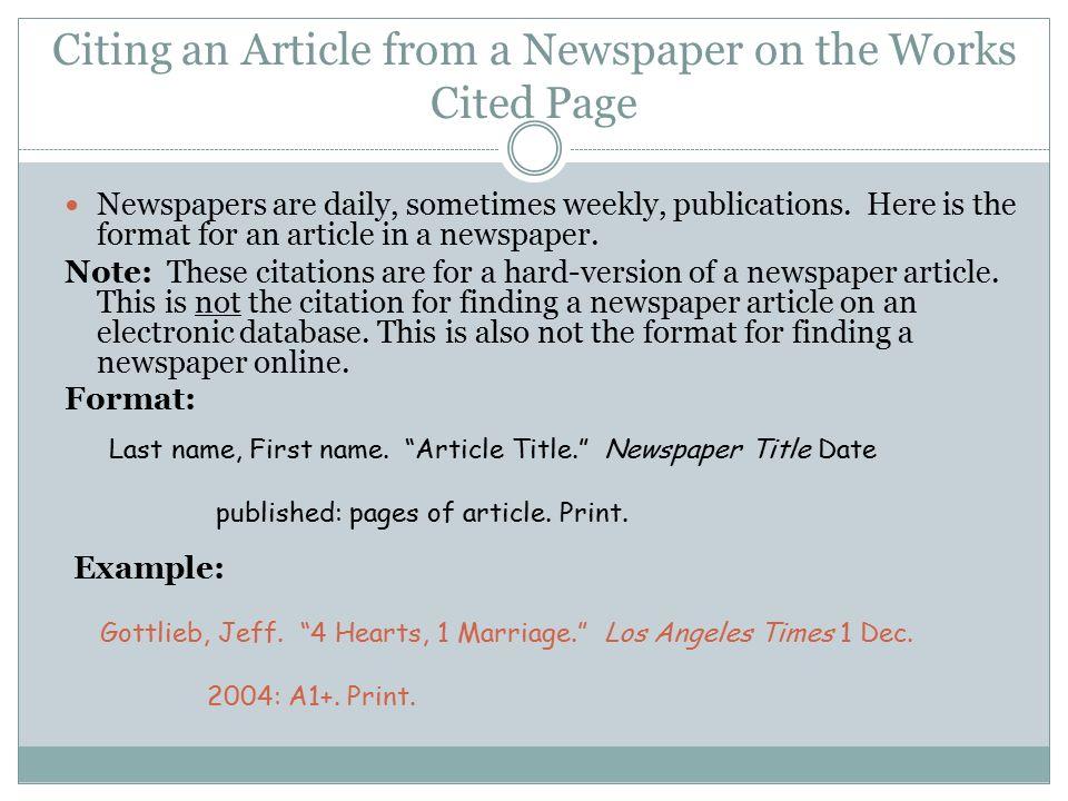newspaper titles in mla