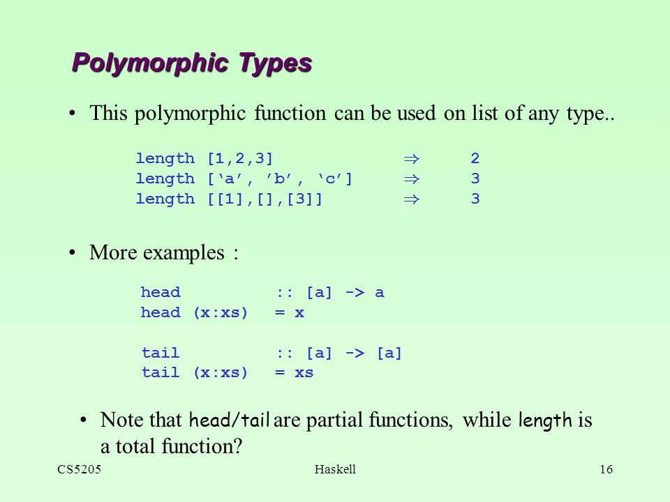 CS5205Haskell1 CS5205: Foundations in Programming Languages FP with
