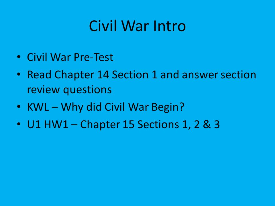 CP US History Unit 1 Civil War And Reconstruction Ppt