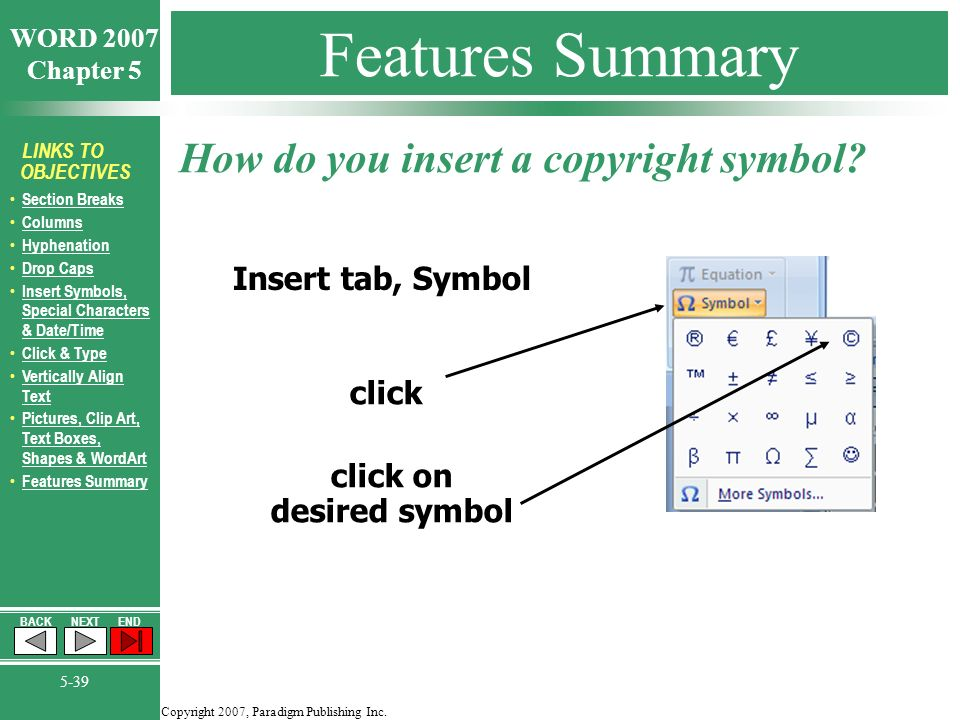 Copyright 2007 Paradigm Publishing Inc Word 2007 Chapter 5