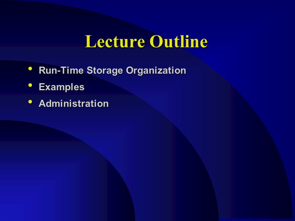 Run Time Storage Organization Compiler Design Lecture 03 23 98 Computer Science Rensselaer Polytechnic Ppt Download