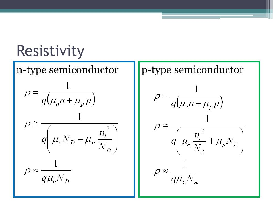 13 resistivity n type semiconductorp type semiconductor