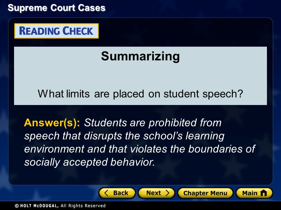 Summarizing What limits are placed on student speech.