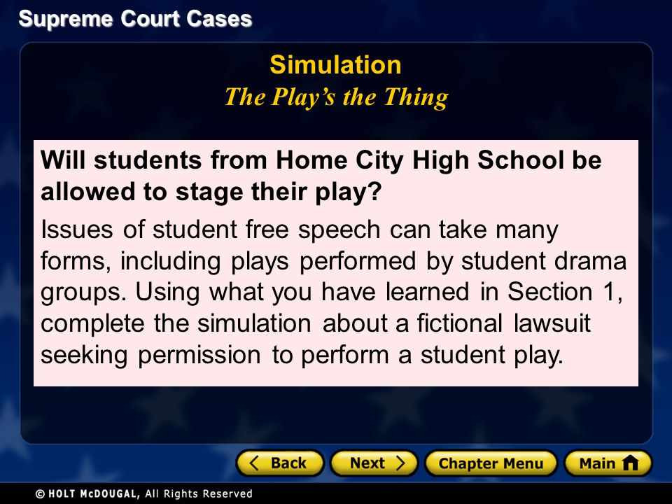 Supreme Court Cases Simulation The Play's the Thing Will students from Home City High School be allowed to stage their play.