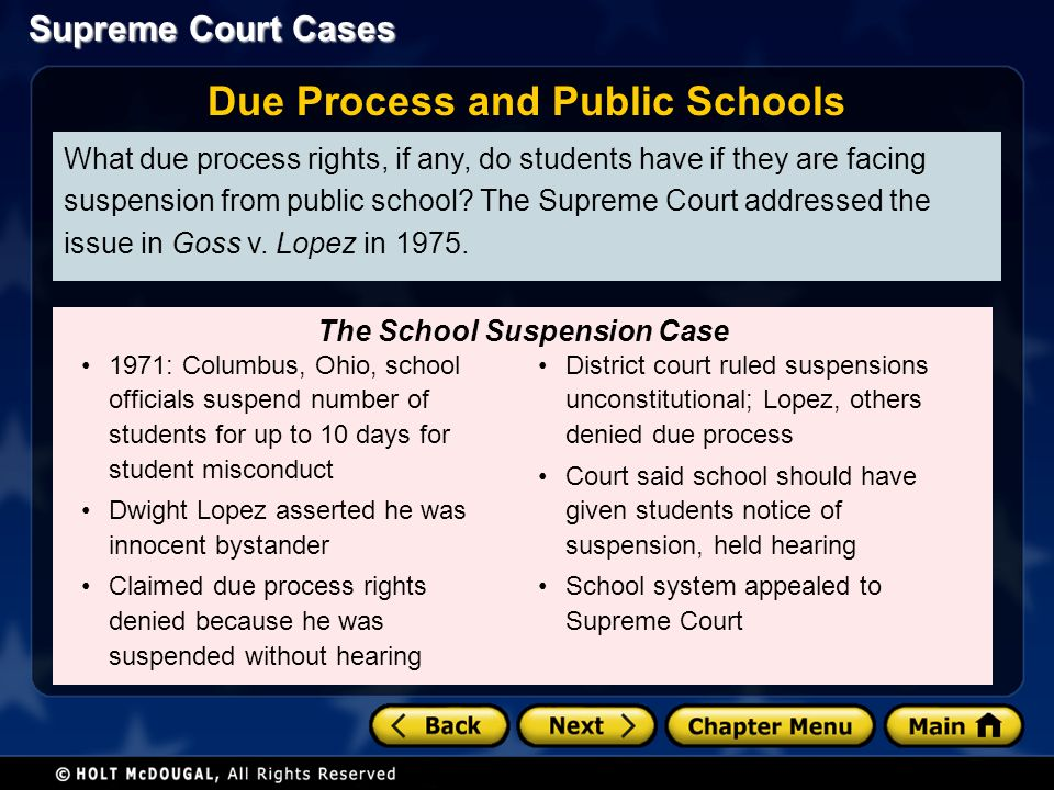 Supreme Court Cases What due process rights, if any, do students have if they are facing suspension from public school.