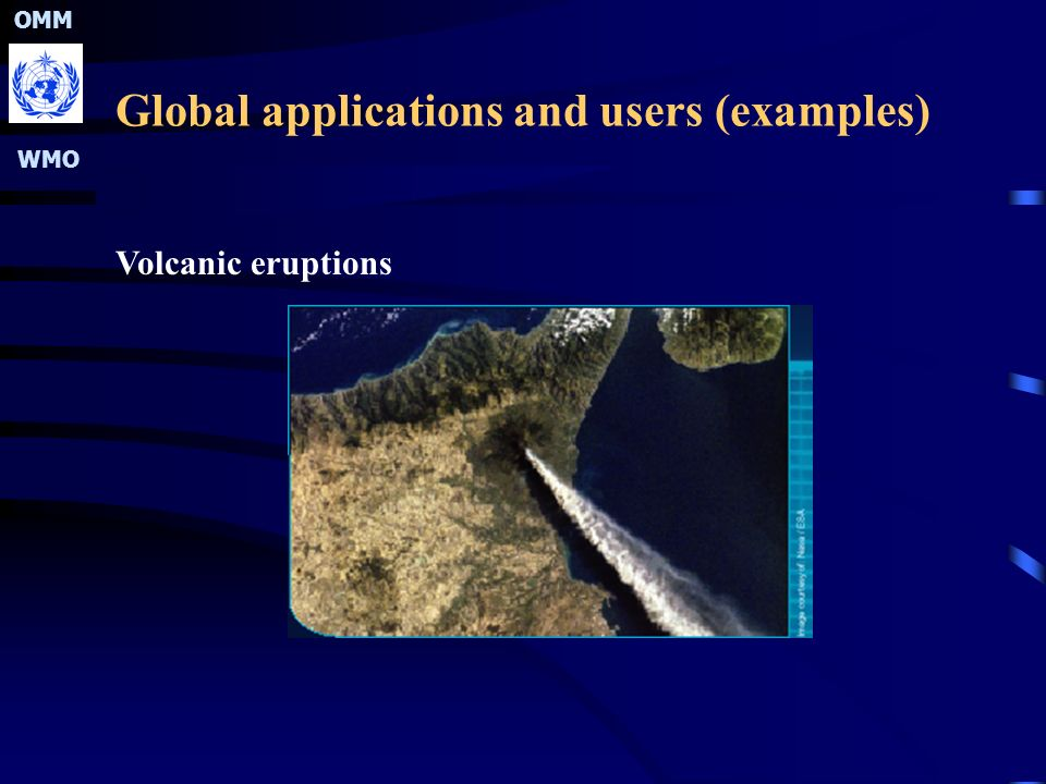 OMM WMO Global applications and users (examples) Volcanic eruptions