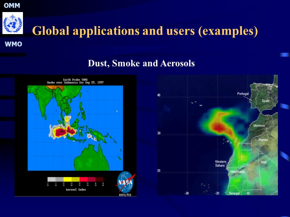 OMM WMO Global applications and users (examples) Dust, Smoke and Aerosols