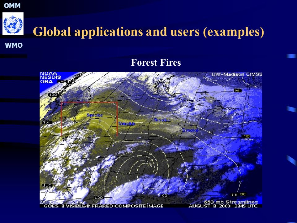 OMM WMO Global applications and users (examples) Forest Fires