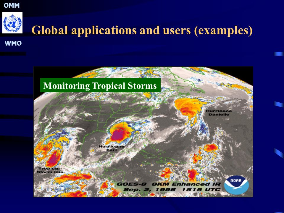 OMM WMO Global applications and users (examples) Monitoring Tropical Storms