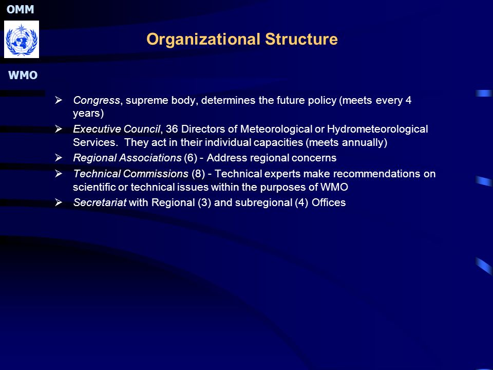 OMM WMO Organizational Structure  Congress, supreme body, determines the future policy (meets every 4 years)  Executive Council, 36 Directors of Meteorological or Hydrometeorological Services.