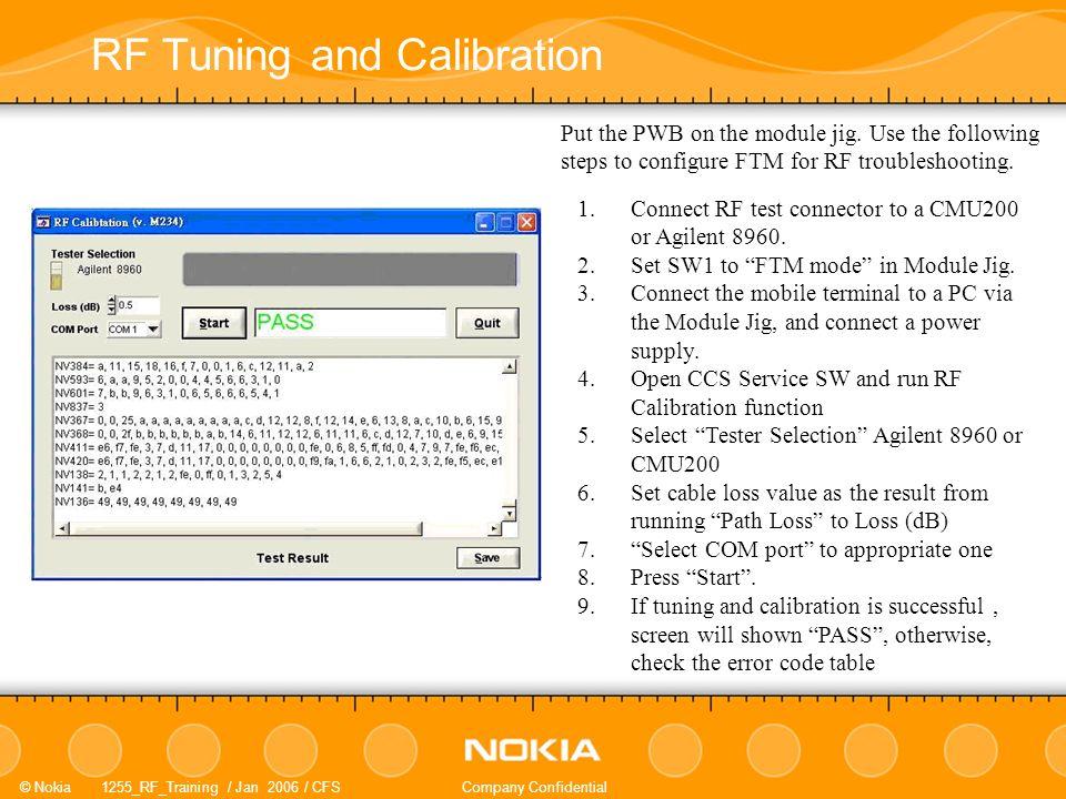 Nokia 1255_RF_Training / Jan 2006 / CFSCompany Confidential