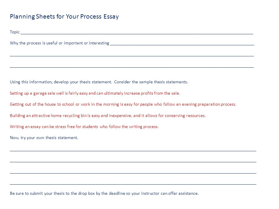 step by step follow these instructions for writing your process  planning sheets for your process essay topic